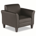 Alera® Reception Lounge Series Club Chair - Black/Black Leather [ALERL23LS10B-FS-NAT]