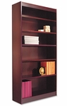 Alera® Square Corner Wood Veneer Bookcase - Six-Shelf - 35-5/8w x 11-3/4d x 72h - Mahogany [ALEBCS67236MY-FS-NAT]