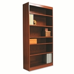 Alera® Square Corner Wood Veneer Bookcase - 6-Shelf - 35-3/8''W x 11-3/4''D x 72''D - Medium Oak [ALEBCS67236MO-FS-NAT]