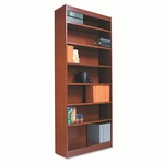 Alera® Square Corner Wood Veneer Bookcase - 7-Shelf - 35-3/8''W x 11-3/4''D x 84''H - Medium Oak [ALEBCS78436MO-FS-NAT]