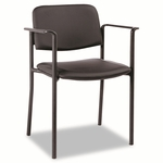 Alera® Stacking Guest Chair - PVC-Free Faux Leather - Black [ALEUT49CS10B-FS-NAT]