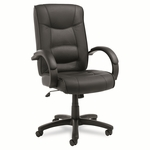 Alera® Strada Series High-Back Swivel/Tilt Chair - Black Top-Grain Leather Upholstery [ALESR41LS10B-FS-NAT]