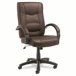 Alera® Strada Series High-Back Swivel/Tilt Chair - Brown Leather Upholstery [ALESR41LS50B-FS-NAT]