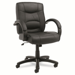 Alera® Strada Series Mid-Back Swivel/Tilt Chair - Black Leather Upholstery [ALESR42LS10B-FS-NAT]