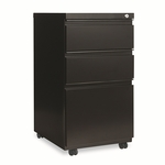 Alera® Three-Drawer Mobile Pedestal File With Full-Length Pull - 15-7/8''W x 19-1/4''D - Black [ALEPB532819BL-FS-NAT]