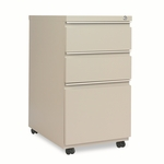 Alera® Three-Drawer Mobile Pedestal File With Full-Length Pull - 15-7/8''W x 23''D - Putty [ALEPB532823PY-FS-NAT]