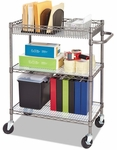 Alera® Three-Tier Wire Rolling Cart - 34w x 18d x 40h - Black Anthracite [ALESW543018BA-FS-NAT]