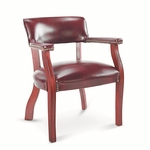 Alera® Traditional Series Guest Arm Chair - Mahogany Finish/Oxblood Vinyl [ALETD4336-FS-NAT]
