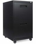 Alera® Two-Drawer Metal Pedestal File - 16w x 19-1/2d x 28-1/2h - Black [ALEPA542820BL-FS-NAT]