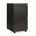Alera® Two-Drawer Mobile Pedestal File With Full-Length Pull - 15-7/8''W x 19-1/4''D - Black [ALEPB542819BL-FS-NAT]