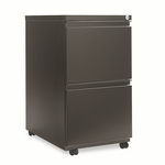 Alera® Two-Drawer Mobile Pedestal File With Full-Length Pull - 15-7/8''W x 23''D - Black [ALEPB542823BL-FS-NAT]