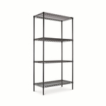 Alera® Wire Shelving Starter Kit - 4 Shelves - 36''W x 18''D x 72''H - Black [ALESW503618BL-FS-NAT]