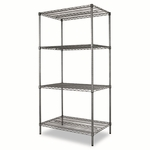 Alera® Wire Shelving Starter Kit - 4 Shelves - 36''W x 24''D x 72''H - Black Anthracite [ALESW503624BA-FS-NAT]