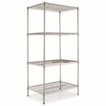 Alera® Wire Shelving Starter Kit - Four-Shelf - 36w x 24d x 72h - Silver [ALESW503624SR-FS-NAT]