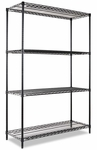 Alera® Wire Shelving Starter Kit - Four-Shelf - 48w x 18d x 72h - Black [ALESW504818BL-FS-NAT]