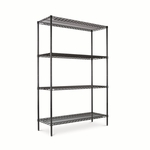 Alera® Wire Shelving Starter Kit - 4 Shelves - 48''W x 18''D x 72''H - Black [ALESW504818BL-FS-NAT]
