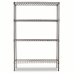 Alera® Wire Shelving Starter Kit - Four-Shelf - 48w x 18d x 72h - Black Anthracite [ALESW504818BA-FS-NAT]