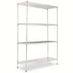 Alera® Wire Shelving Starter Kit - Four-Shelf - 48w x 18d x 72h - Silver [ALESW504818SR-FS-NAT]