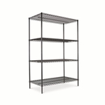 Alera® Wire Shelving Starter Kit - 4 Shelves - 48''W x 24''D x 72''H - Black [ALESW504824BL-FS-NAT]