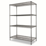 Alera® Wire Shelving Starter Kit - Four-Shelf - 48w x 24d x 72h - Black Anthracite [ALESW504824BA-FS-NAT]