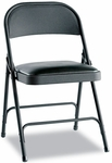 Alera® Steel Folding Chair w/Padded Seat- Graphite- 4/Carton [ALEFC94VY10B-FS-NAT]