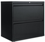 Alera® Two-Drawer Lateral File Cabinet- 30''W x 19-1/4''D x 29''H- Black [ALELF3029BL-FS-NAT]