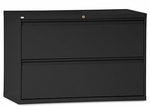 Alera® Two-Drawer Lateral File Cabinet - 42w x 19-1/4d x 28-3/8h - Black [ALELF4229BL-FS-NAT]