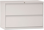 Alera® Two-Drawer Lateral File Cabinet- 42''W x 19-1/4''D x 29''H- Light Gray [ALELF4229LG-FS-NAT]