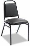 Alera® Upholstered Stacking Chairs w/Square Back- Black Vinyl- Black Frame [ALESC68VY10B-FS-NAT]