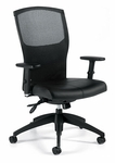 Alero QuickShip Leather Medium Back Multi Tilter Chair with Arms and Casters - Grade 7 [1961LM-3-GR7-FS-GLO]