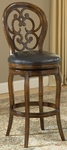 Alexandra Wood 30'' Bar Height Stool with Black Leather Swivel Seat - Dark Tobacco [63885-FS-HILL]