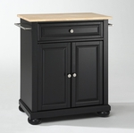 Alexandria Natural Wood Top Portable Kitchen Island in Black Finish [KF30021ABK-FS-CRO]