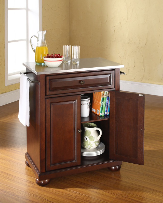 Alexandria Stainless Steel Top Portable Kitchen Island In