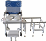 All Purpose Dual Shower Transfer Chair with Casters - 60''H [D118-5-SLIDE-MJM]
