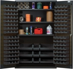 All-Welded Storage Cabinet with 137 Bins - Black [QSC-48S-BK-QSS]