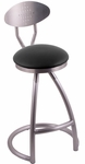 Alpha 25'' Stainless Steel Finish Swivel Counter Height Stool with Back and Gr 1 Allante Black Vinyl Seat [200025SSAL802BKMS-FS-HOB]