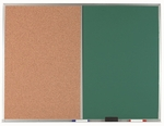 Aluminum Frame Combination Board with Natural Pebble Grain Cork Bulletin Board and Green Chalkboard - 36''H x 48''W [DCO3648G-AA]