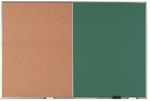 Aluminum Frame Combination Board with Natural Pebble Grain Cork Bulletin Board and Green Chalkboard - 48''H x 72''W [DCO4872G-AA]