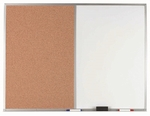 Aluminum Frame Combination Board with Natural Pebble Grain Cork Bulletin Board and Melamine Marker Board - 36''H x 48''W [WDCO3648-AA]