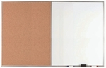 Aluminum Frame Combination Board with Natural Pebble Grain Cork Bulletin Board and Melamine Marker Board - 48''H x 72''W [WDCO4872-AA]