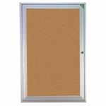 Aluminum Framed Enclosed Natural Cork Bulletin Board with Lockable Hinged Doors [PA12418K-GHE]