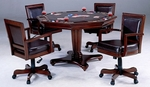 Ambassador 5 Piece Game Set with Round Wood Convertible Table and 4 Height Adjustable Chairs - Rich Cherry [6124GTBC-FS-HILL]