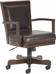 Ambassador Height Adjustable Game Chair with Casters and Brown Leather Seat - Rich Cherry [6124-801B-FS-HILL]