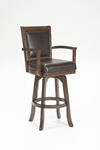Ambassador Wood 30'' Bar Height Stool with Brown Leather Swivel Seat - Rich Cherry [6124-830-FS-HILL]