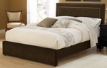Amber Upholstered Bed Set with Nail Head - King - Chocolate [1554BKRA-FS-HILL]