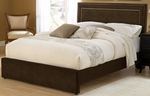 Amber Upholstered Bed Set with Nail Head Trim - Queen - Chocolate [1554BQRA-FS-HILL]