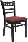 American Back Chair with Black Finish and Gr 2 Burgundy Vinyl Seat [8226-B-IND8569-HND]