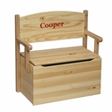 American Made Solid Wood Bench Toy Box with Safety Lid Includes Personalization - Natural