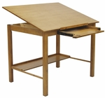 Americana II 48''W x 36''D Wood Drafting Table with Adjustable Angle Top - Light Oak [13253-FS-SDI]