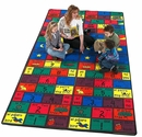 Rectangular Amigos Style Educational Nylon Rug
